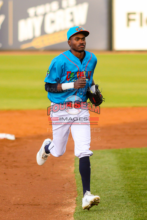 Wisconsin Timber Rattlers outfielder Korry Howell (36) jogs to the dugout between innings during a Midwest League game against the Lake County Captains on May 10, 2019 at Fox Cities Stadium in Appleton, Wisconsin. Wisconsin defeated Lake County 5-4. (Brad Krause/Four Seam Images)