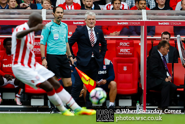 Stoke City 1 West Bromwich Albion 1, 24/09/2016. Bet365 Stadium, Premier League. Mark Hughes Manager of Stoke City, Stoke City v West Bromwich Albion at the Bet365 Stadium. Photo by Paul Thompson.