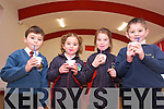 Healthy Week at Scoil Eoin Balloonagh -  Scoil Eoin, organised by the parents council put on a range of activities to promote Health - Senior Infants Jack GRear, Farrah Leahy, sophie o'connor and William Falker enjoying a healthy smoothy on Tuseday