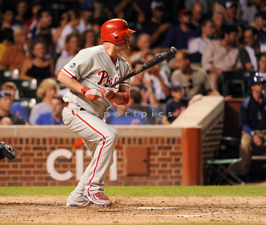 BRIAN SCHNEIDER, of the Philadelphia Phillies ,in action during the Phillies  game against the Chicago Cubs in Chicago, IL on July 18, 2010.  The Cubs won the game 11-6.