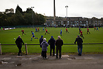 Spectators watching the first-half action as Nelson (in blue) hosted Daisy Hill in a North West Counties League first division north fixture at Victoria Park. Founded in 1881, the home club were members of the Football League from 1921-31 and has played at their current ground, known as Little Wembley, since 1971. The visitors won this fixture 6-3, watched by an attendance of 78.