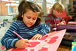 BEACON FALLS, CT 1/26/01--0126TK02.tif  (left to right:)Jessica Evon and Cal Brennan concentrate on their valentine art efforts for  Abott  Terrace.--TOM KABELKA staff photo for STANDALONE PHOTO