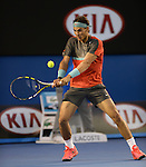 Rafael Nadal (ESP) defeats Roger Federer (SUI) 7-6, 6-3, 6-3 in the semifinals at the Australian Open in Melbourne, Australia on January 24, 2014