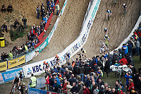 Koen Van Dijke (NLD/U23) diving into/bombing the infamous 'Pit'<br /> <br /> U23 race<br /> Superprestige Zonhoven 2015