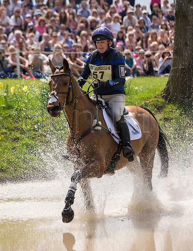 07.05.2016. Badminton House, Badminton, England. Mitsubishi Motors Badminton Horse Trials. Day Four. Zara Tindall (GBR) riding 'High Kingdom' member of the Silver medal teams at both the London Olympic Games and 2014 World Equestrian Games during the cross country element of The Mitsubishi Motors Badminton Horse Trials.