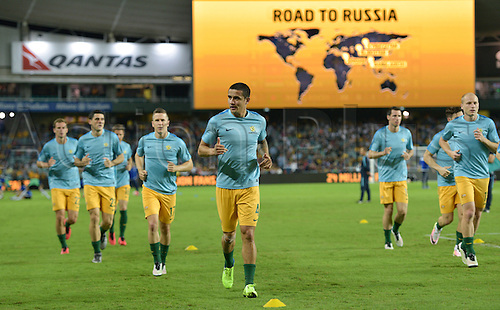 29.03.2016. Allianz Stadium, Sydney, Australia. Football 2018 World Cup Qualification match Australia versus Jordan.  Australian forward Tim Cahill warms up before the game. Australia won 5-1.