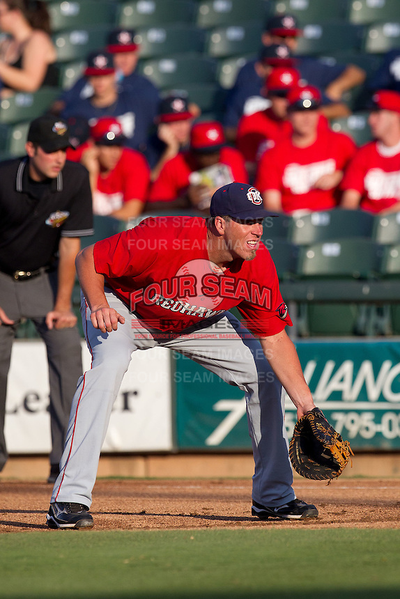 Oklahoma City RedHawks first baseman Mike Hessman #27 on defense during the Pacific Coast League baseball game against the Round Rock Express on June 15, 2012 at the Dell Diamond in Round Rock, Texas. The Express shutout the RedHawks 2-1. (Andrew Woolley/Four Seam Images).