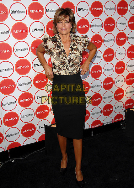LISA RINNA.attends The Entertainment Weekly Pre-Emmy Party held at Republic in West Hollywood, California, USA,.August 26, 2006..full length black pencil skirt brown and cream print blouse shirt.Ref: DVS.www.capitalpictures.com.sales@capitalpictures.com.©Debbie VanStory/Capital Pictures