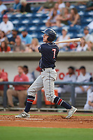 Jacksonville Jumbo Shrimp left fielder Brian Miller (7) follows through on a swing during a game against the Pensacola Blue Wahoos on August 15, 2018 at Blue Wahoos Stadium in Pensacola, Florida.  Jacksonville defeated Pensacola 9-2.  (Mike Janes/Four Seam Images)