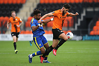 Dan Sweeney of Barnet tries to shake off a challenge from Adi Yussuf of Solihull Moors during Barnet vs Solihull Moors, Vanarama National League Football at the Hive Stadium on 28th September 2019