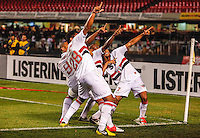 SAO PAULO, SP, 15 SETEMBRO 2012 - CAMP. BRASILEIRO - SAO PAULO X PORTUGUESA - Luis Fabiano (segundo da e/d)  jogador do São Paulo comemora seu gol durante partida contra a Portuguesa pela 25 rodada do Campeonato Brasileiro no estádio Cicero Pompeu de Toledo em Sao Paulo, neste sabado, 15. (FOTO: WILLIAM VOLCOV / BRAZIL PHOTO PRESS). PHOTO PRESS).