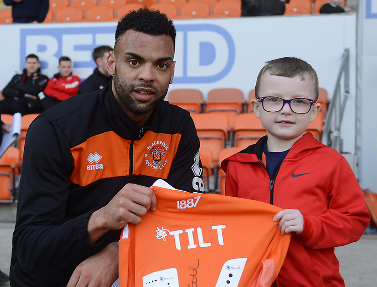 Blackpool's Curtis Tilt presents a shirt<br /> <br /> Photographer Kevin Barnes/CameraSport<br /> <br /> The EFL Sky Bet League One - Blackpool v Walsall - Saturday 9th February 2019 - Bloomfield Road - Blackpool<br /> <br /> World Copyright &copy; 2019 CameraSport. All rights reserved. 43 Linden Ave. Countesthorpe. Leicester. England. LE8 5PG - Tel: +44 (0) 116 277 4147 - admin@camerasport.com - www.camerasport.com