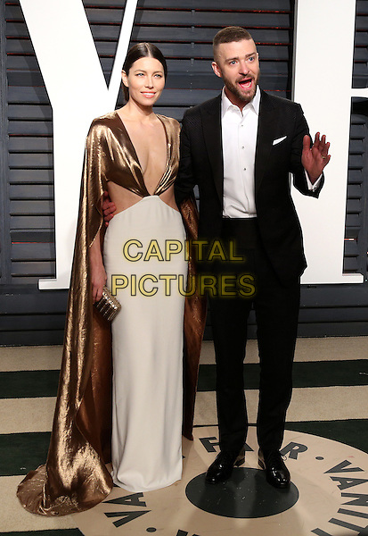 BEVERLY HILLS - FEBRUARY 26: (L-R) Jessica Biel and Justin Timberlake attend the Vanity Fair Oscar Party 2017 on February 26, 2017 in Beverly Hills, California.<br /> CAP/MPI99<br /> &copy;MPI99/Capital Pictures