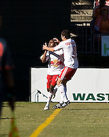 New York Red Bulls midfielder Dane Richards (19) and midfielder Sinisa Ubiparipovic (8) celebrate a goal.  New York Red Bulls defeated Houston Dynamo 3-0 for an aggregate  score of 4-1 over Houston Dynamo   at Robertson Stadium in Houston, TX on November 9, 2008 in the second leg of the Western Conference semifinals.  Photo by Wendy Larsen/isiphotos.com