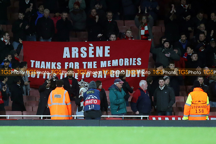 'Wenger Out' Banner on display at the final whistle during Arsenal vs FC Bayern Munich, UEFA Champions League Football at the Emirates Stadium on 7th March 2017
