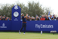 Francesco Molinari (Team Europe) on the 8th tee during Friday Fourball at the Ryder Cup, Le Golf National, Iles-de-France, France. 28/09/2018.<br /> Picture Thos Caffrey / Golffile.ie<br /> <br /> All photo usage must carry mandatory copyright credit (© Golffile | Thos Caffrey)