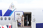 Yuriko Koike (Tokyo Governor), <br /> AUGUST 24, 2016 : The Olympic flag welcoming ceremony at Haneda Airport in Tokyo, Japan. The Olympic flag was passed to the Tokyo governor via the IOC President at the Rio de Janeiro 2016 Olympic Games closing ceremony on August 21. Tokyo will host the 2020 Olympic Games. (Photo by AFLO SPORT)
