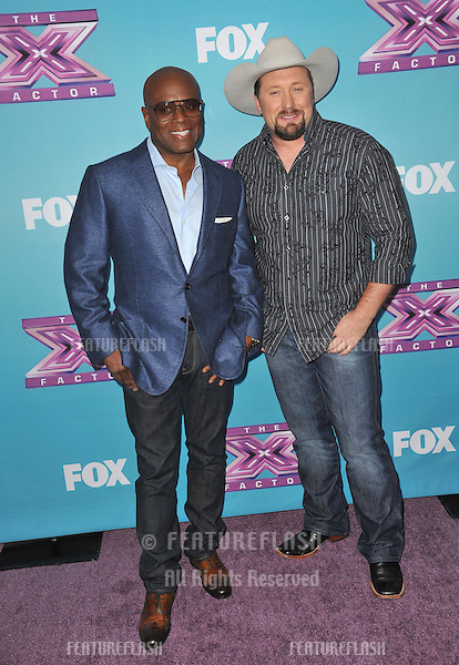 "L.A. Reid & Tate Stevens (right) at the press conference for the season finale of Fox's ""The X Factor"" at CBS Televison City, Los Angeles..December 17, 2012  Los Angeles, CA.Picture: Paul Smith / Featureflash"