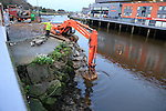 Remedial work being carried out on the river wall at McDonalds.<br /> Picture www.newsfile.ie