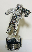 BNPS.co.uk (01202 558833)<br /> Pic: OmegaAuctions/BNPS<br /> <br /> PICTURED:  One of the rarest items in the sale is the MTV video music award won by Dire Staits for Money For Nothing in 1986.<br /> <br /> The first ever played Beatles record has sold at auction for over £20,000 leading an £80,000 sale of music memorabilia amassed by a veteran radio DJ.<br /> <br /> Tony Prince worked for Radio Luxembourg which was the first to give air time to the Fab Four.<br /> <br /> On the evening of October 5, 1962, the pirate radio station broadcast their debut 7in single. <br /> <br /> It was the first time the people of the UK got to hear the ground-breaking music of The Beatles.