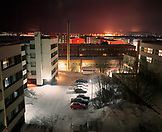 FINLAND, Rovaniemi, Arctic, high angle view of cars parked within residential structural. A hotel view in the city of Rovaniemi.