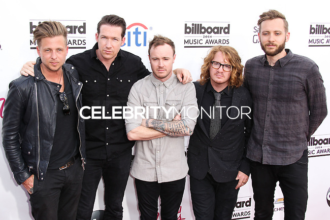 LAS VEGAS, NV, USA - MAY 18: Ryan Tedder, Zach Filkins, Eddie Fisher, Drew Brown, Brent Kutzle, OneRepublic at the Billboard Music Awards 2014 held at the MGM Grand Garden Arena on May 18, 2014 in Las Vegas, Nevada, United States. (Photo by Xavier Collin/Celebrity Monitor)
