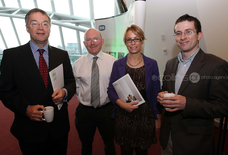 08/11/'10 **NO FEE FOR REPRODUCTION**From left, Brendan Kilgallon M.D. Coolair Ltd., James Loughlin Sales Engineer, Coolair Ltd., Lisa Dunne  ESB and Gavin Byrne of Ecologics pictured at the launch of the ESB HALO Service at the National Convention Centre this morning. ESB HALO is the new inovative, home energy efficiency service designed to meet the energy needs of homeowners throughout the country. HALO Installation Service is a total one-stop solution to home energy needs, from insulating your walls to solar panels on the roof. ESB HALO provides homeowners with the products and installation services they need to meximise savings and minimise their carbon footprint...Picture Colin Keegan, Collins, Dublin.
