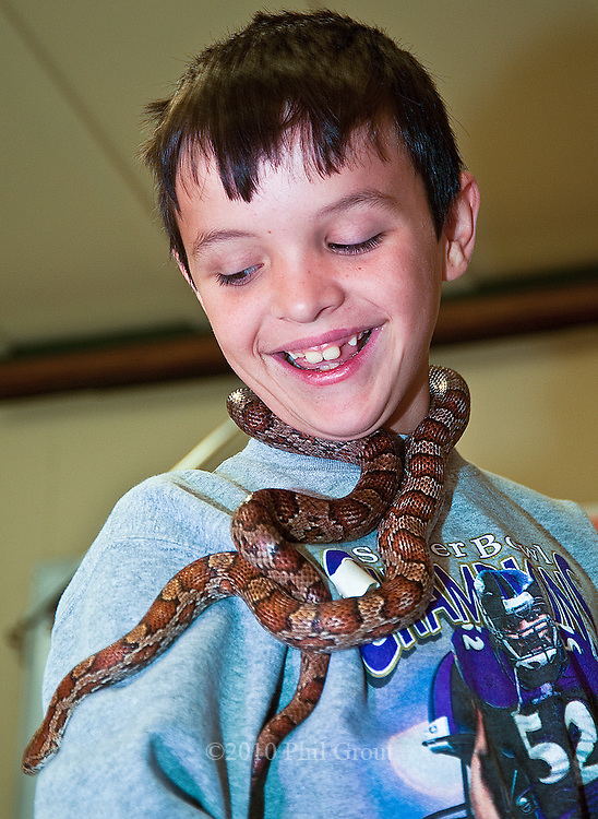"Photo by Phil Grout..Jacob Cornwell of Shrewsbury, PA, has an absolute ""fun day"" at.Charlotte's Quest as he makes firends with the resident corn snake,.Miss Ellie."