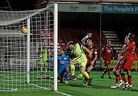 Exeter City's Jordan Moore-Taylor doubles the lead during the Sky Bet League 2 match between Crawley Town and Exeter City at Broadfield Stadium, Crawley, England on 28 February 2017. Photo by Carlton Myrie / PRiME Media Images.