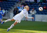 US forward Abby Wambach (17) attempts a diving header.  The U.S. Women's National Team defeated Italy 1-0 at Toyota Park in Bridgeview, IL on November 27, 2010 to advance to the Women's World Cup in Germany.