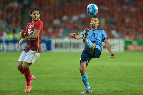 02.03.2016. Sydney, Australia. AFC Champions League. Sydney versus Guangzhou Evergrande. Sydney forward Robert Stambolziev clears the ball. Sydney won the game 2-1.