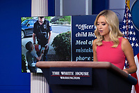 White House Press Secretary Kayleigh McEnany provides examples of good deeds done by police officers during a news conference in the James S. Brady Press Briefing Room at the White House in Washington D.C., U.S., on Monday, June 8, 2020.  McEnany stated that United States President Donald J. Trump is against defunding police departments, after the death of George Floyd in police custody has pushed cities across the United States to consider doing so.  Credit: Stefani Reynolds / CNP/AdMedia