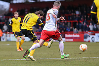 Ricky Holmes of Northampton Town (11) scores his team's third goal to make it 2-3 during the Sky Bet League 2 match between Stevenage and Northampton Town at the Lamex Stadium, Stevenage, England on 19 March 2016. Photo by David Horn / PRiME Media Images.