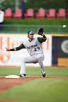 Fort Wayne TinCaps second baseman Chase Jensen (24) waits for a throw at second during a game against the Lake County Captains on May 20, 2015 at Classic Park in Eastlake, Ohio.  Lake County defeated Fort Wayne 4-3.  (Mike Janes/Four Seam Images)