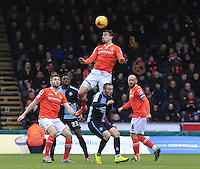 Olly Lee of Luton Town gets his head to the ball during the Sky Bet League 2 match between Wycombe Wanderers and Luton Town at Adams Park, High Wycombe, England on 6 February 2016. Photo by Liam Smith.