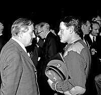James Callaghan, UK Home Secretary, left, talking to Brigadier Peter Leng, a counter-terrorism expert in the British Army, during a visit to Londonderry, N Ireland. 196908270002a<br />