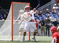 Annapolis, MD - May 20, 2018: Maryland Terrapins Dan Morris (8) makes a save during the quarterfinal game between Maryland vs Cornell at  Navy-Marine Corps Memorial Stadium in Annapolis, MD.   (Photo by Elliott Brown/Media Images International)