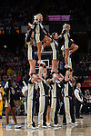 The Wake Forest Demon Deacons cheerleaders entertain the crowd during a first half timeout in the game against the North Carolina Tar Heels at the LJVM Coliseum on January 21, 2015 in Winston-Salem, North Carolina.  The Tar Heels defeated the Demon Deacons 87-71.  (Brian Westerholt/Sports On Film)