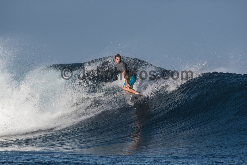 Namotu Island Resort, Nadi, Fiji (Monday, May 7 2017): The wind was light this morning,  coming out of the of the South. An early morning crew hit Cloudbreak  as the tide dropped to a 10.30am low. The swell  was in the 3' plus range being groomed by the light offshore wind.  Other guests surfed Namotu Lefts until the tide got too low.    Photo: joliphotos.com