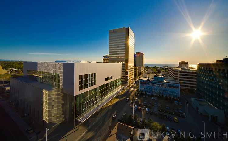 An birds eye view of the Dena'ina  visitors and Convention Center and downtown Anchorage Skyline at sunset, springtime, Anchorage Southcentral Alaska, USA.