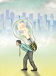 Illustrative image of businessman carrying light bulb with dollar symbol representing profit
