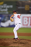 Salem Red Sox relief pitcher Danny Gonzalez (40) delivers a pitch during a game against the Lynchburg Hillcats on May 10, 2018 at Haley Toyota Field in Salem, Virginia.  Lynchburg defeated Salem 11-5.  (Mike Janes/Four Seam Images)