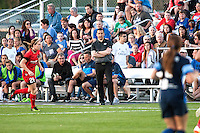 Kansas City, Mo. - Saturday April 23, 2016: FC Kansas City head coach Vlatko Andonovski looks on during a match against Portland Thorns FC at Swope Soccer Village. The match ended in a 1-1 draw.