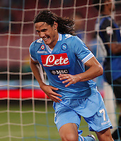 Edinson Cavani celebrates after score against Inter  during their Italian Serie A soccer match at the San Paolo stadium in Naples.NAPOLI 05/05/2013 -.CALCIO SERIE A 2012/2013 . NAPOLI - INTER - .NELLA FOTO  ESULTANZA EDINSON CAVANI.FOTO CIRO DE LUCA