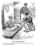 "The Responsibles. Mr Montagu (to Mr Gandhi). ""It looks as if one of us would have to go."" John Bull. ""Why not both?"" (Edwin Montagu and Mahatma Gandhi attempt to out stare eachother while John Bull disapproves during the InterWar era)"