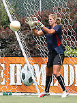 30 July 2006: Hope Solo (USA) during pregame warmps. The United States Women's National Team defeated Canada 2-0 at SAS Stadium in Cary, North Carolina in an international friendly soccer match.