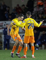 Luke O'Nien of Wycombe Wanderers congratulates Paris Cowan-Hall of Wycombe Wanderers on his goal during the Sky Bet League 2 match between Dagenham and Redbridge and Wycombe Wanderers at the London Borough of Barking and Dagenham Stadium, London, England on 9 February 2016. Photo by Andy Rowland.