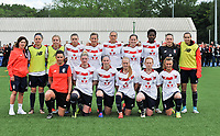 20170514 - LILLE , FRANCE : LOSC's team picture with Belgian players Maud Coutereels , Jana Coryn and Silke Demeyere pictured during the 21 st competition game between the women teams of Lille OSC and La Roche Sur Yon in the 2016-2017 season of the Second Division A D2F A at stade Lille Metropole , Saturday 14th May 2017 ,  PHOTO Joke Vuylsteke | Sportpix.Be