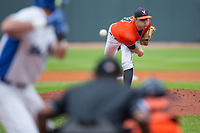 Virginia Cavaliers starting pitcher Derek Casey (14) delivers a pitch to the plate against the Duke Blue Devils in Game Seven of the 2017 ACC Baseball Championship at Louisville Slugger Field on May 25, 2017 in Louisville, Kentucky.  The Blue Devils defeated the Cavaliers 4-3 to advance to the Semi-Finals. (Brian Westerholt/Four Seam Images)