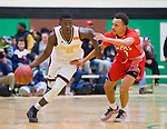 WATERBURY, CT-031218JS20- Sacred Heart's Raheem Solomon (11) drives the ball past Wilbur Cross' Joel Pullen (2) during their Division I quarterfinal game Monday at Wilby High School in Waterbury. <br />  Jim Shannon Republican-American